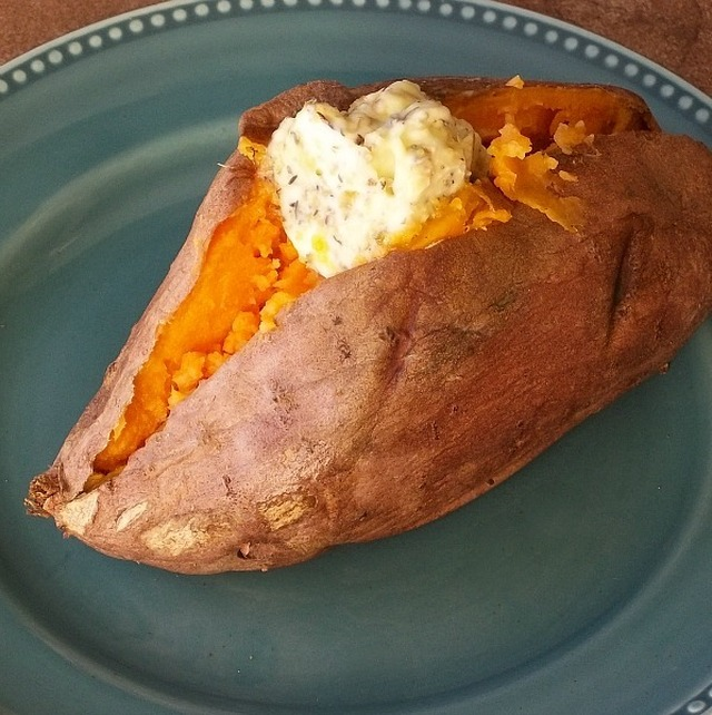Baked Sweet Potato with Herbed Butter
