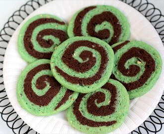 CHOCOLATE PISTACHIO PINWHEEL COOKIES for ST. PATRICK'S DAY