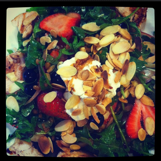 Arugula Salad w Strawberries, Blueberries, Toasted Almonds,  Goat Cheese and Seared Chicken Breast