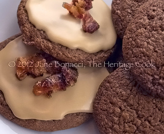 Milk Chocolate Cookies with Maple Frosting and Candied Bacon (GF Option)