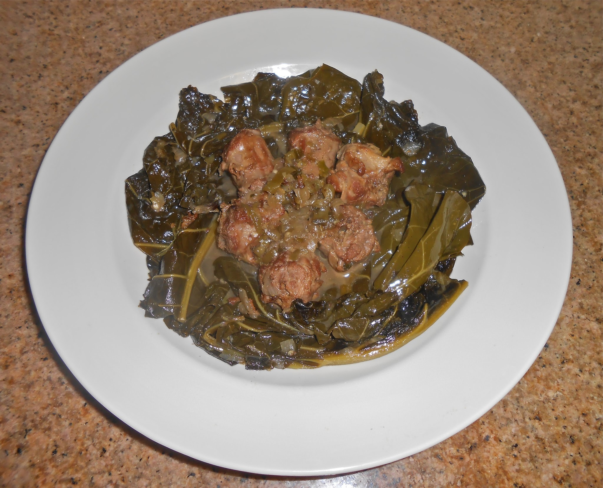 Collard Greens and Turkey Neck Bones with Pot Liquor!  Soul Food!