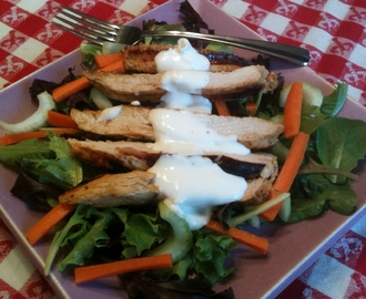 Buffalo Chicken Salad with Half-Fat Bleu Cheese Dressing