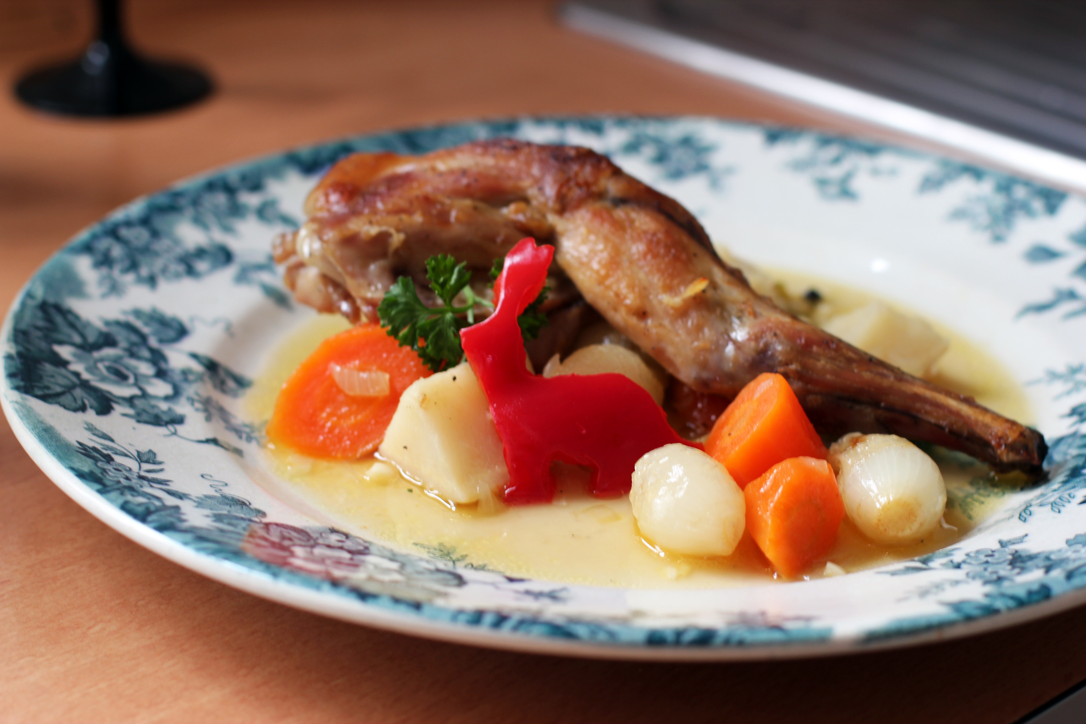 Braised Rabbit with Parsnips, Carrots and Pearl Onions