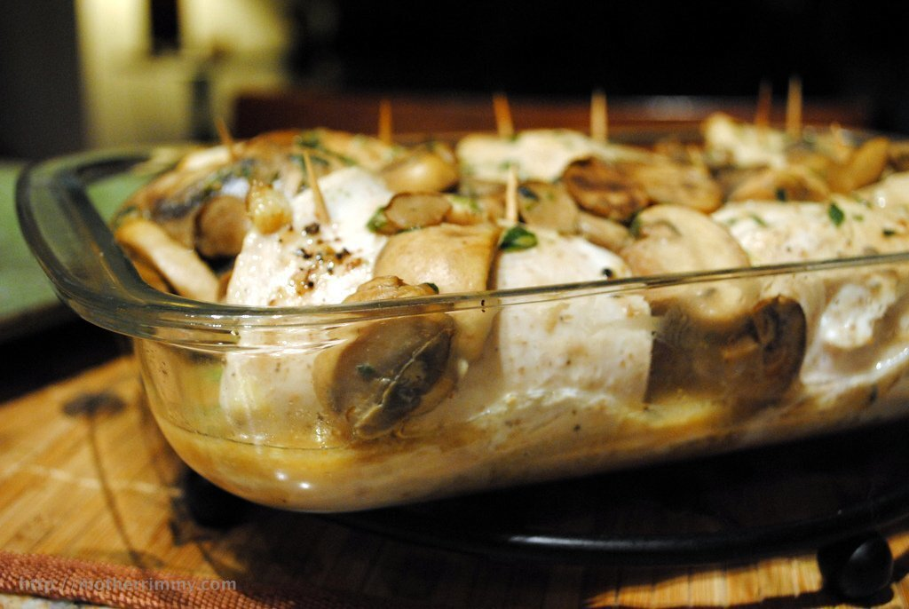Still Keeping it Lean In-Between with Spinach Stuffed Chicken Breasts in Mushroom Sauce