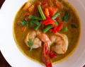 Prawns with Carrot-Ginger Coconut Sauce