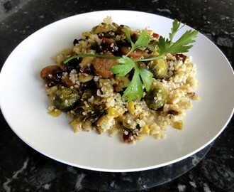 Quinoa with Brussels Sprouts, Sausage, Almonds, Leeks and Cranberries