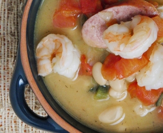 Kielbasa Sausage, Shrimp and White Bean Stew