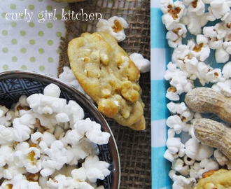 Popcorn Peanut Cookies with Red Grapefruit Soda