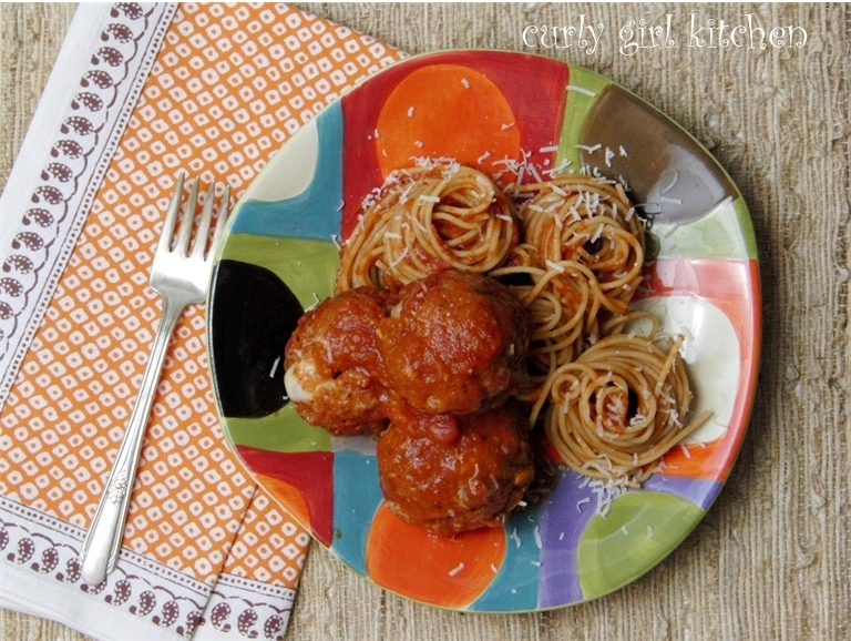 Mozzarella-Stuffed Turkey and Pork Meatballs, with Spaghetti Marinara...