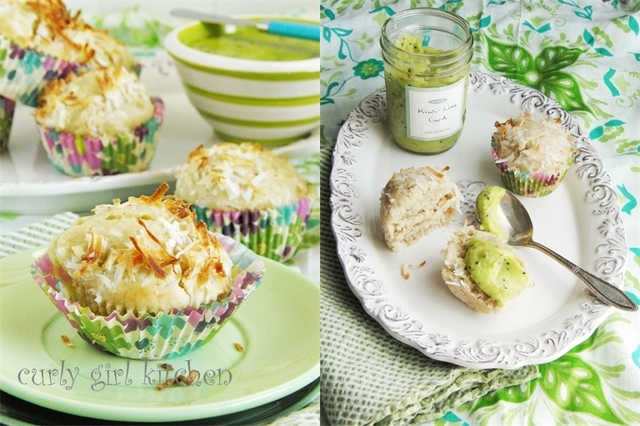 Coconut Muffins with Kiwi-Lime Curd