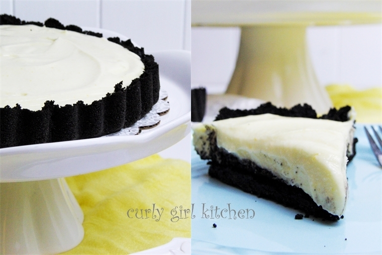 Meyer Lemon Ricotta Tart with a Chocolate Cookie Crust