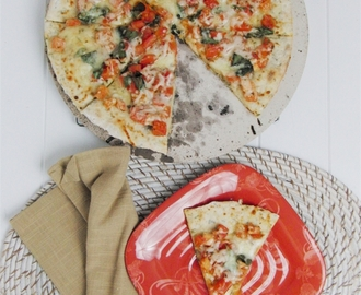 Margherita Pizza, and making Thin and Crispy Pizza Crust using a recipe for Naan