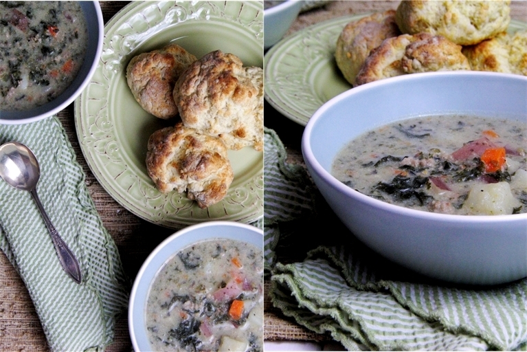 Potato Soup with Kale and Ground Turkey, and Rosemary Garlic Parmesan Biscuits