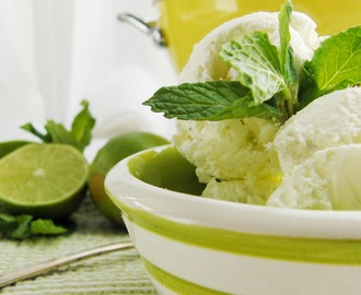 Citrus in Winter...  Lime and Mint Mascarpone Ice Cream and Almond Shortbread Cookies with Lemon Glaze
