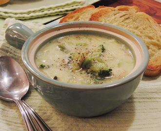 Broccoli Cheddar Soup with Turkey Bacon- a lightened up version