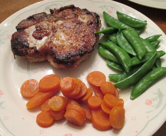 Baked Buttermilk-Brined Pork Chops w/ Sugar Snap Peas, Sliced Carrots, and…