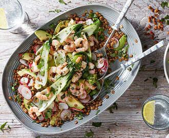 Warm pak choi, prawn and lentil salad