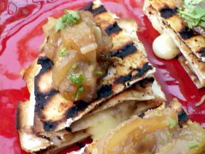 Camembert-Caramelized Onion Quesadilla with Apple Chutney