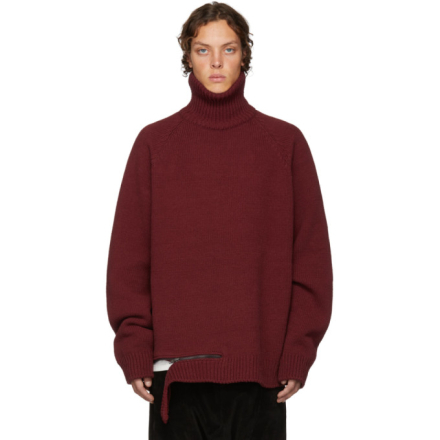 D by D Burgundy Zip Hem Turtleneck