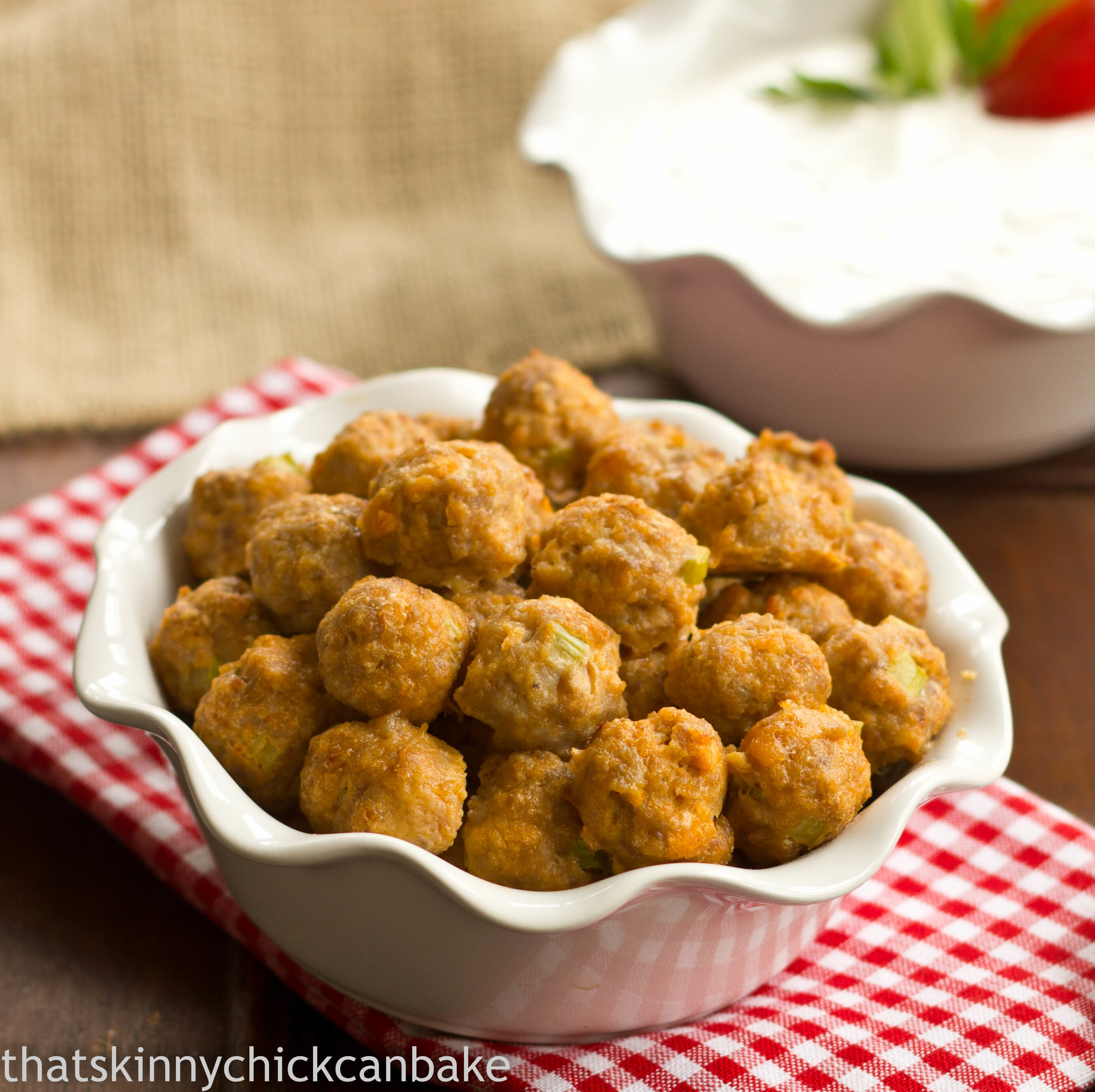 Buffalo Chicken Meatballs with Blue Cheese Sauce~