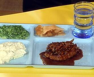 Salisbury Steak with Wild Mushroom Gravy, Smashed Potatoes with garlic and Herb Cheese and Chives, Creamed Spinach