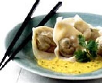 Salmon Dumplings with Coconut Curry Sauce