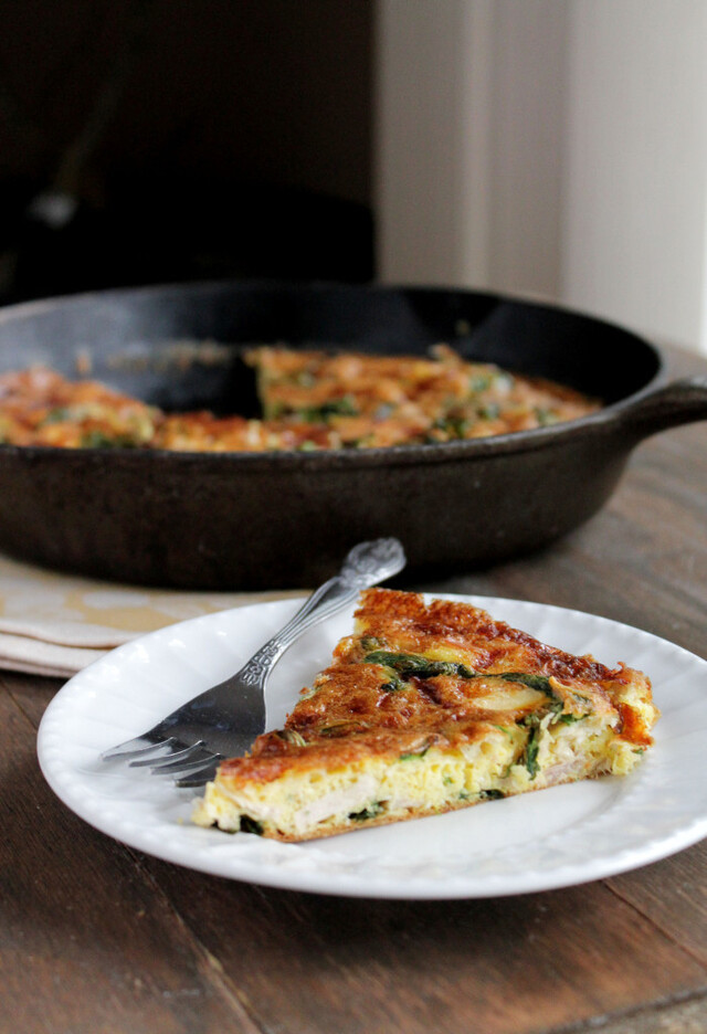 Leftover Turkey Frittata with Spinach and Mozzarella Cheese