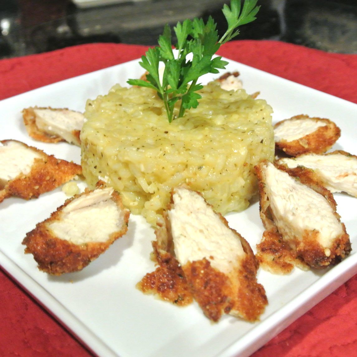 Parmesan Crusted Chicken with Garlic Herb Risotto