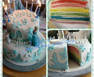 "Rainbow cake ""Reine des neiges"""