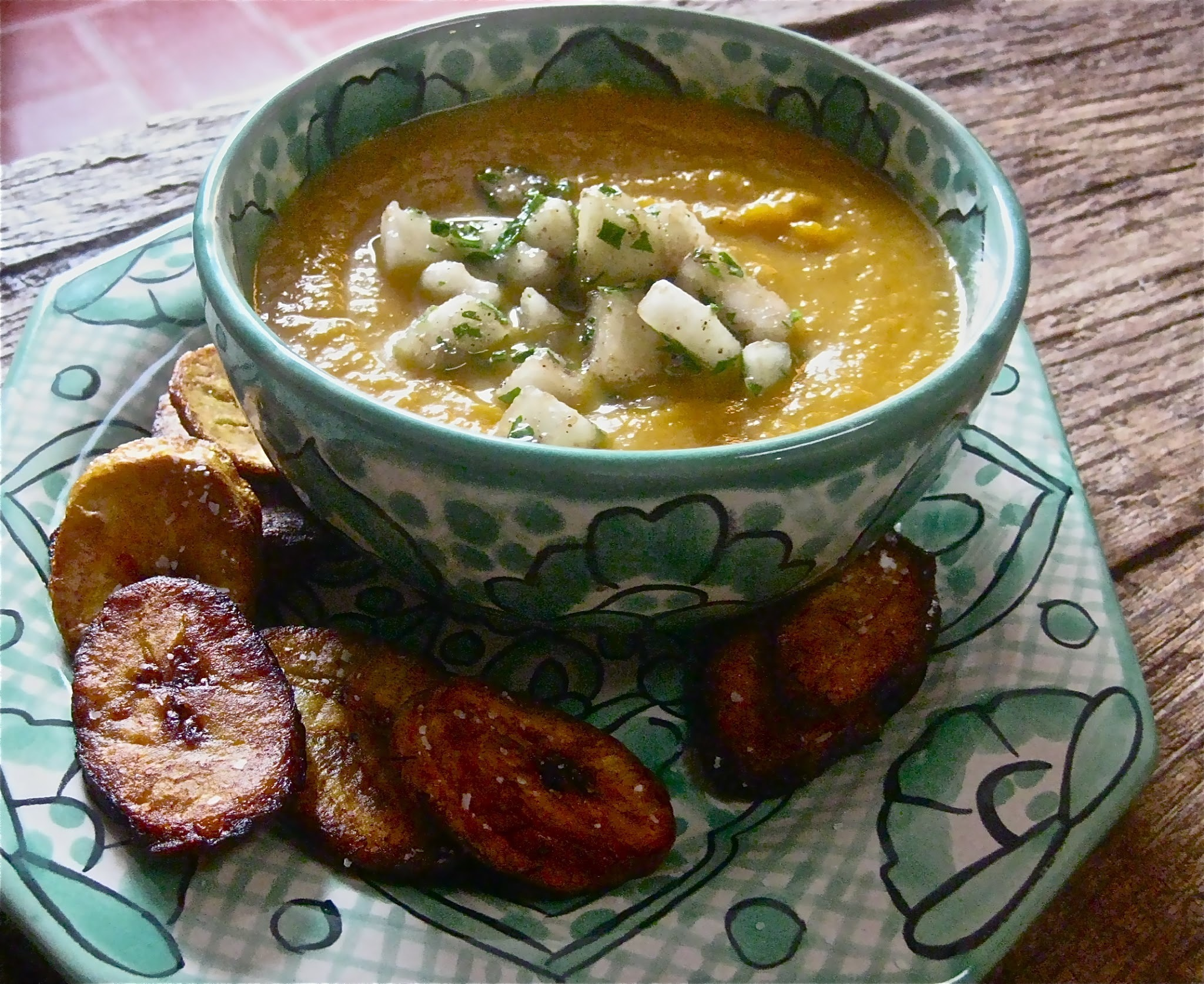 Jamaican Carrot Soup with Pear Relish and Fried Plantains