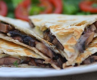 Wild Garlic, Mushroom and Brie Quesadillas
