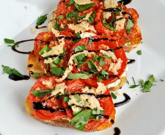 Open Face Roasted Tomato and Goat Cheese Sandwiches with Parmesan Crisps