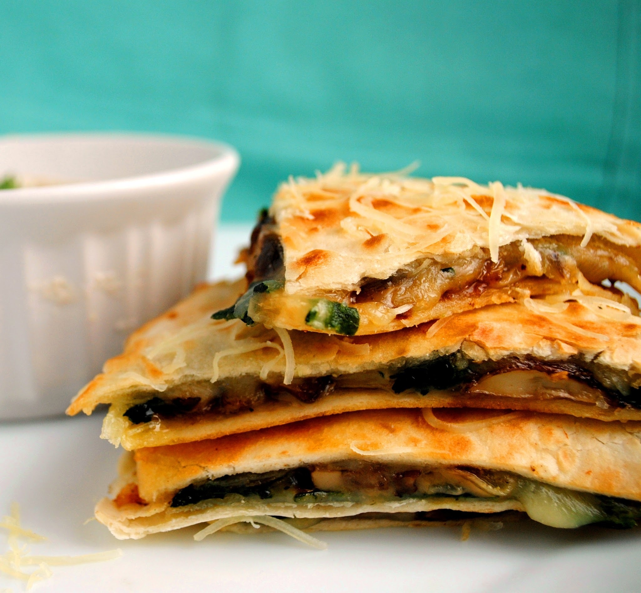 Spinach and Mushroom Quesadillas with Cilantro Lime Dipping Sauce