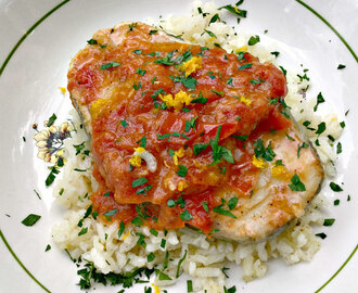 Sicilian Cod with Fresh Garlic Tomato Sauce ♥ a lite, flavorful & easy one pot meal for two