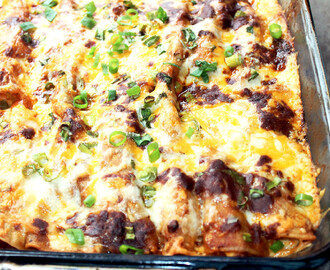 Smoked Chicken Enchiladas w/ Chili Gravy