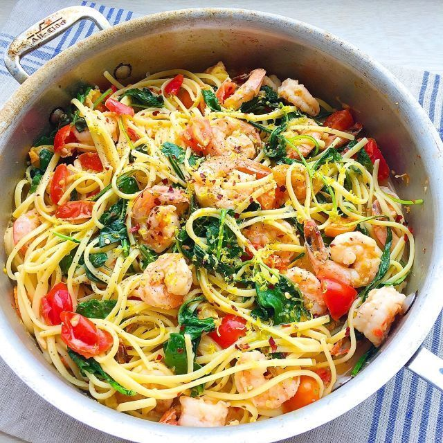 Creamy Shrimp Linguine with Tomatoes, Kale, and Lemon Zest