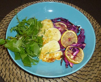 Garlic and Lemon Roasted Red Cabbage with Halloumi Recipe