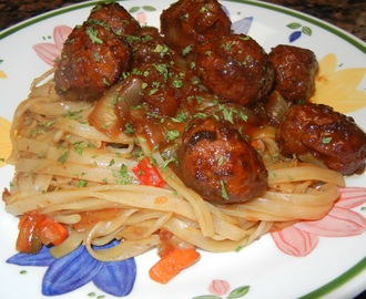 Asian Meatballs with Rice Noodle Stir Fry