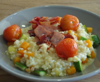 Risotto met glazed bacon