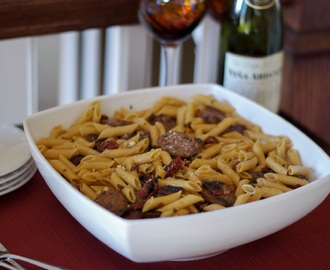 Penne with Sweet Italian Sausage, Sun Dried Tomatoes and Basil