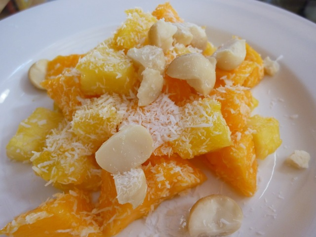 Raw Vegan Pineapple Papaya Salad With Macadamia Nuts And Coconut - A Taste Of Hawaii