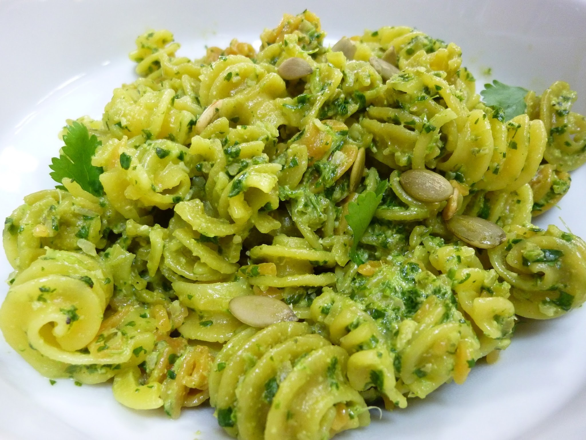 Raw Vegan Cilantro And Pepitas (Sunflower Seed) Pesto On Gluten-Free Pasta - Perfect For Cinco De Mayo!
