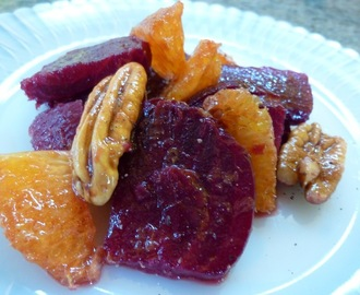 Roasted Beet Salad With Oranges And Pecans In An Orange Vinaigrette Dressing