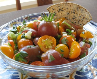 Raw Garden Salsa with Cherry Tomatoes - Rich with Lycopene