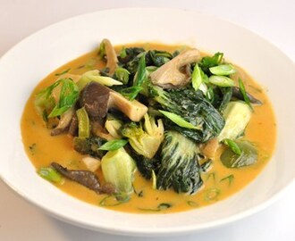 Thai Curried Bok Choy (or Spinach) with Oyster Mushrooms