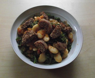 Kale, Butter Bean and Sausage Stew (vegan/gf)