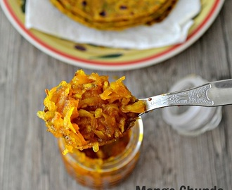 Quick Raw Mango Chunda - Hot Sweet Sour Mango Pickle