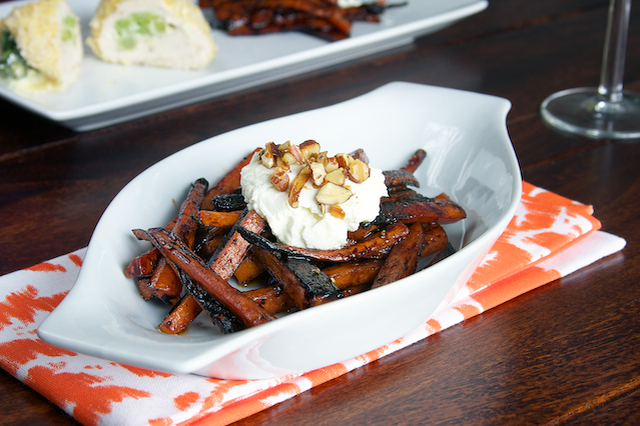Charred Carrots with Balsamic and Goat Cheese