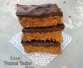 Easy Peanut Butter Bars {No Bake}
