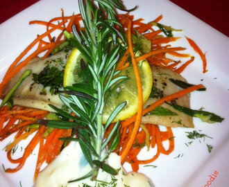 Oven Steamed Herb Tilapia and Vegetables with Lemon Mayo